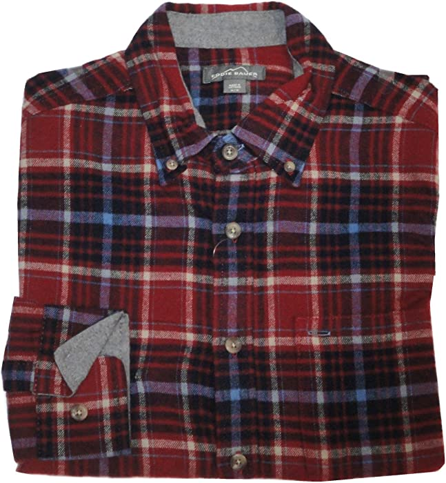 02190b535b40 Eddie Bauer Relaxed Fit Plaid Flannel Shirt (Large