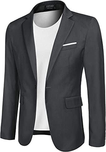 Men Long Sleeve Lapel One Button Slim Coat Blazer