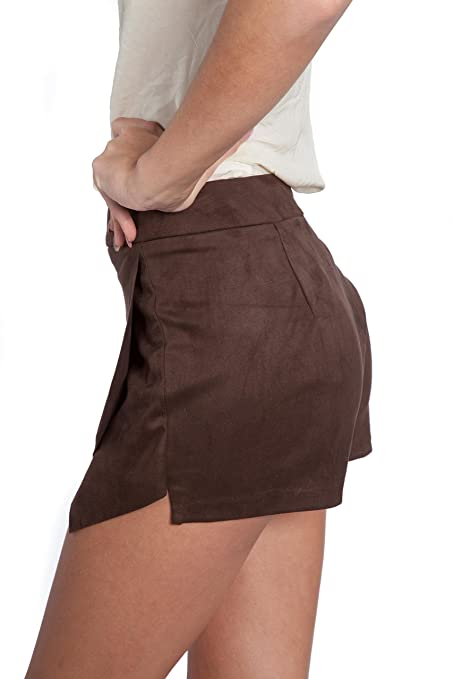 2c858f0e07 Amazon.com: shopatniche Womens Brown Suede Faux Wrap Skort by Necessary  Objects: Clothing