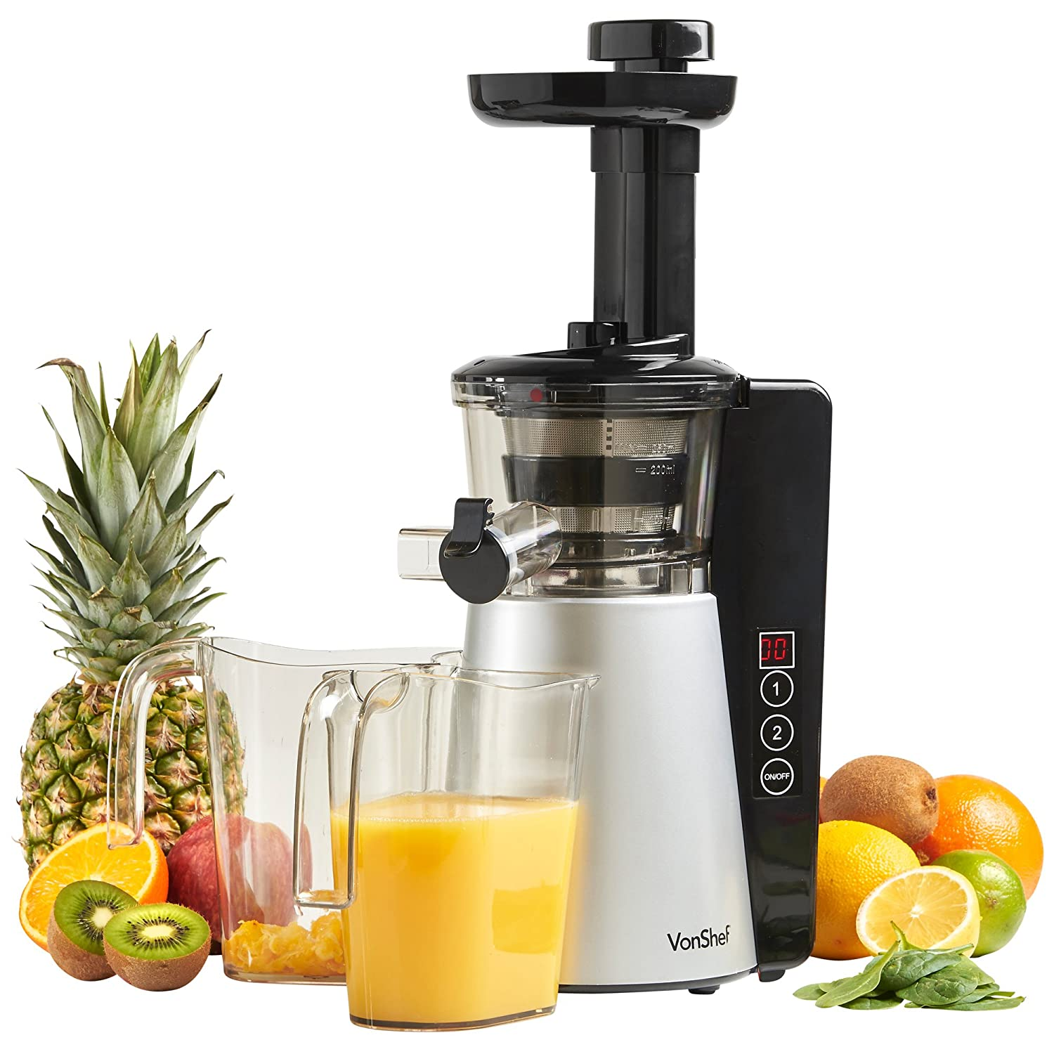 Omega j8006 nutrition center commercial masticating juicer - Vonshef Digital Slow Masticating Juicer Machine With 2 Speeds Reverse Function Quiet Motor
