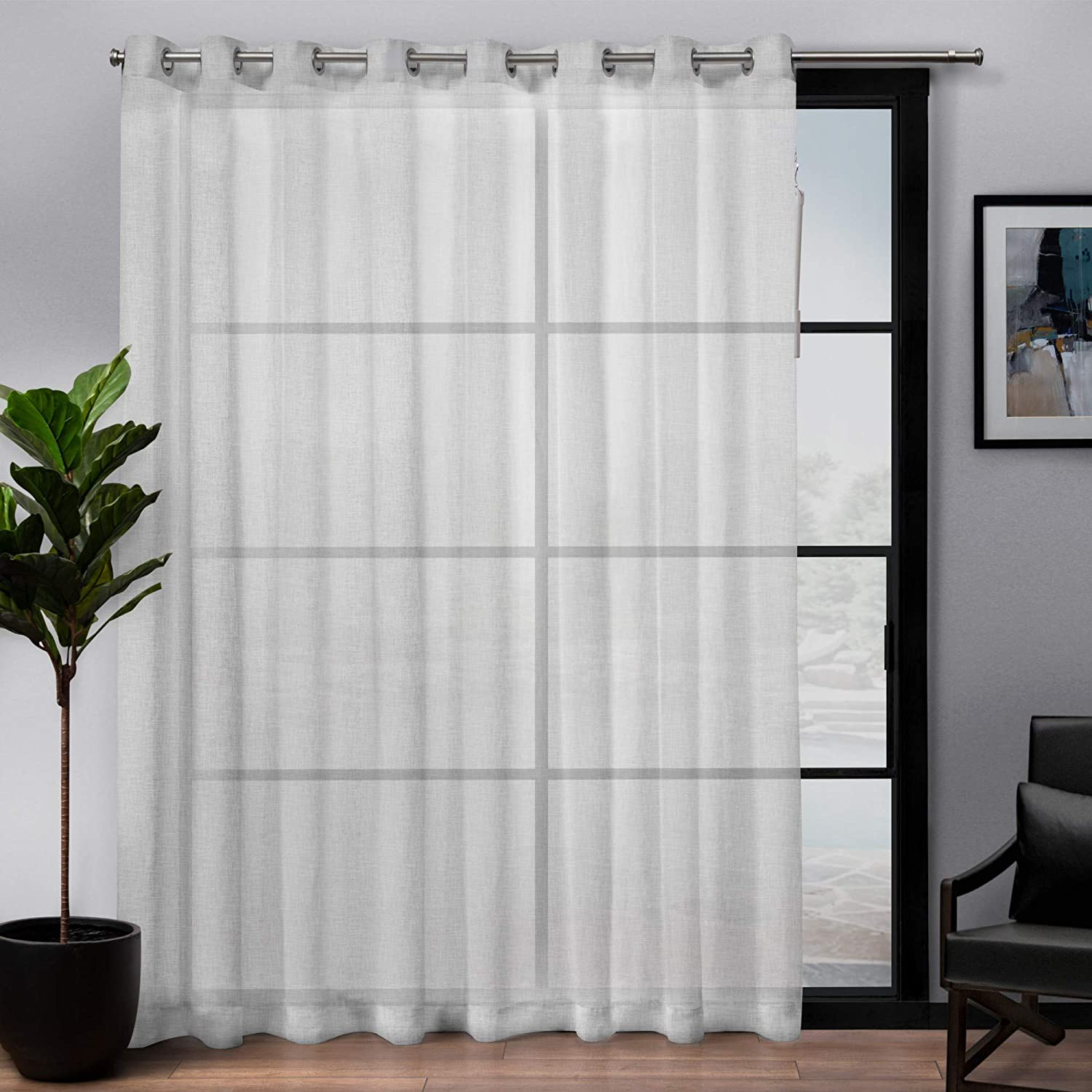 Exclusive Home Curtains Belgian Sheer Textured Linen Look Jacquard Single Patio Panel, 108 x 84, White
