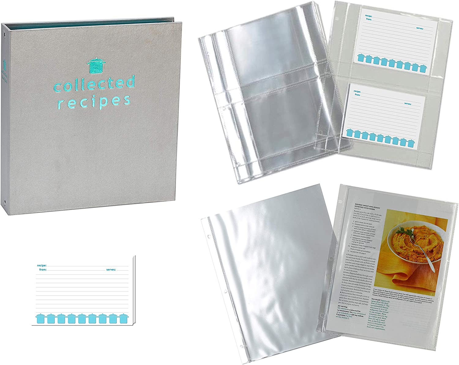 Meadowsweet Kitchens Recipe Binder Organizer Gift Set, Mother's Day, Wedding Gift, Housewarming, Family Recipe Book with Recipe Cards and Plastic Protector Sheets (Turquoise & Gray)