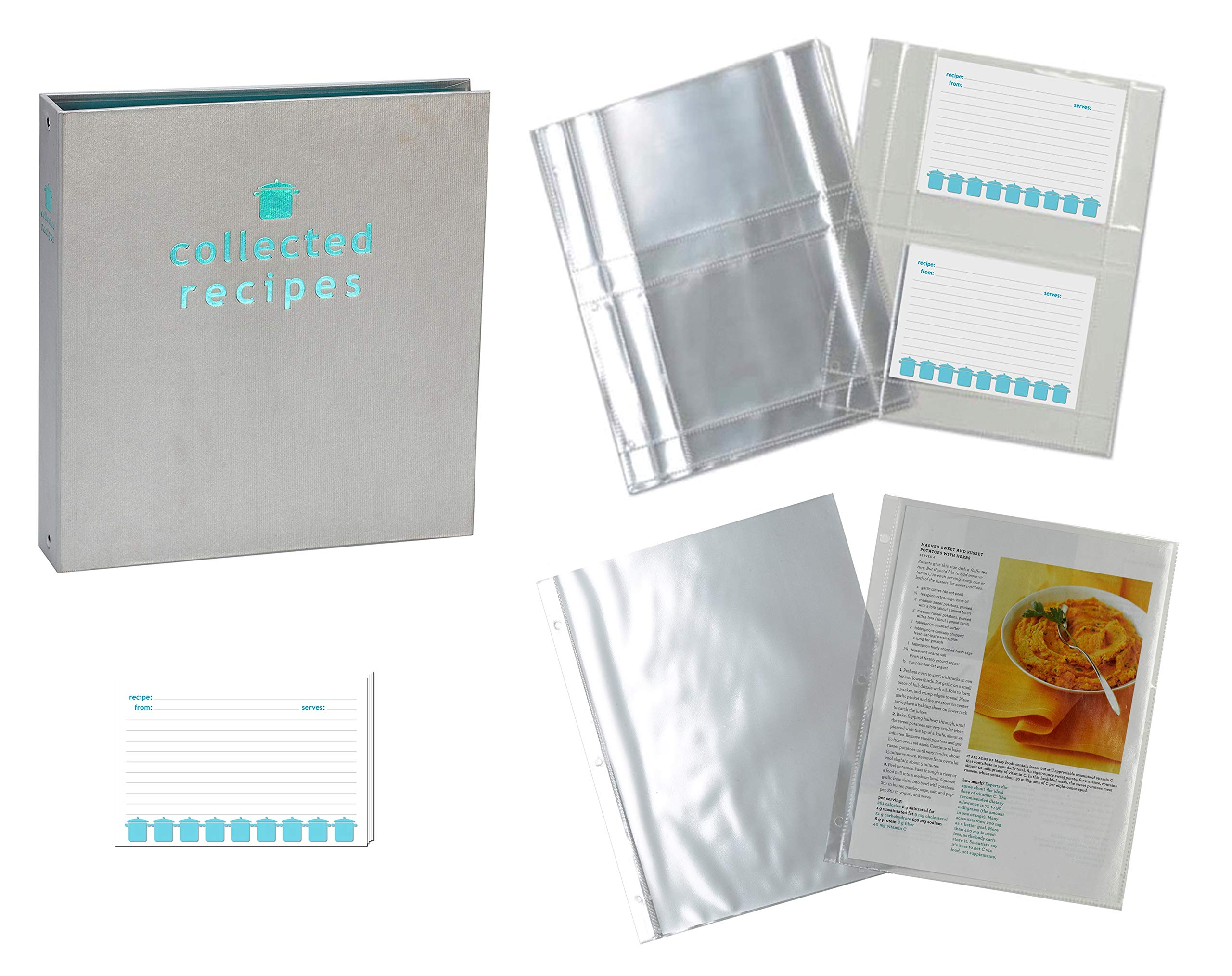 Meadowsweet Kitchens Recipe Binder Organizer Gift Set with Recipe Cards and Plastic Protector Sheets (Turquoise & Gray) by Meadowsweet Kitchens