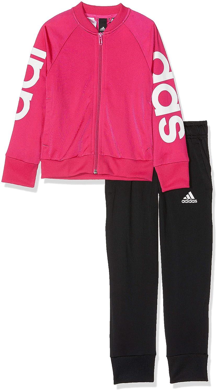 adidas YG PES TS Tuta, Bambina, Multicolore (Top:Real Magenta/White Bottom:Black), 116 (Taglia Produttore:5-6A)