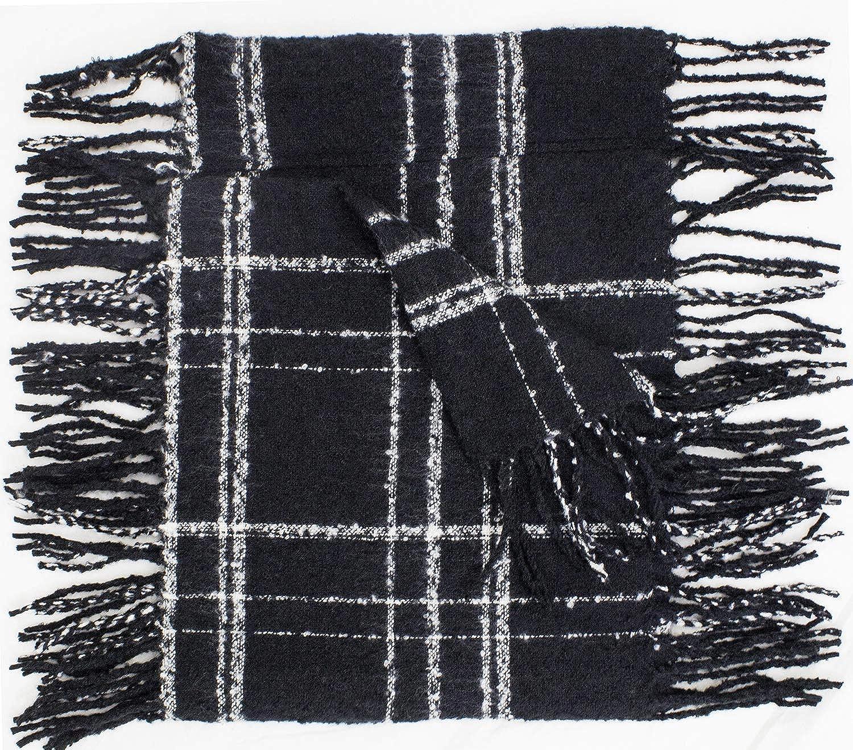 StylesILove Women Stylish Two-tone Plaid Infinity Loop Scarf with Long Fringe