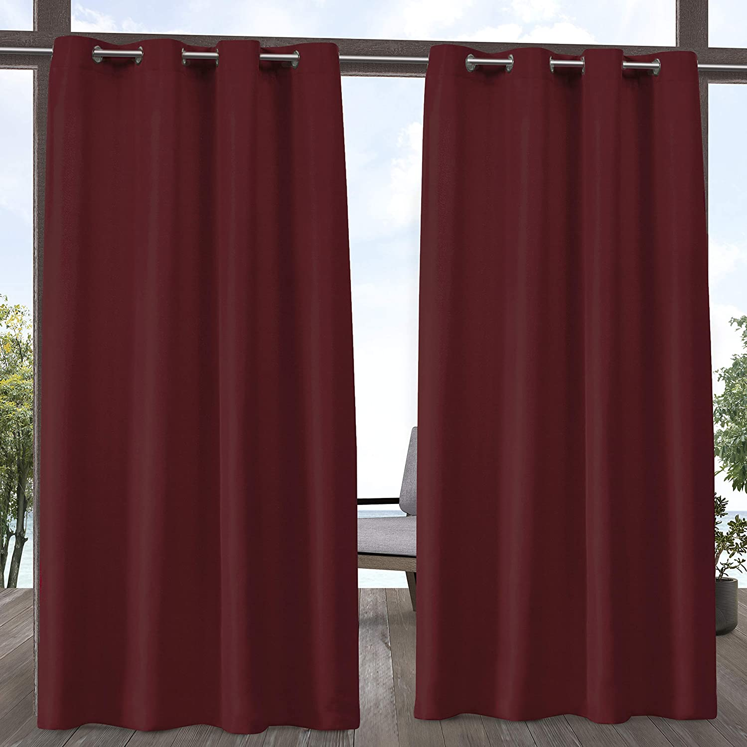 Exclusive Home Curtains Indoor/Outdoor Solid Cabana Grommet Top Curtain Panel Pair, 54x84, Radiant Red