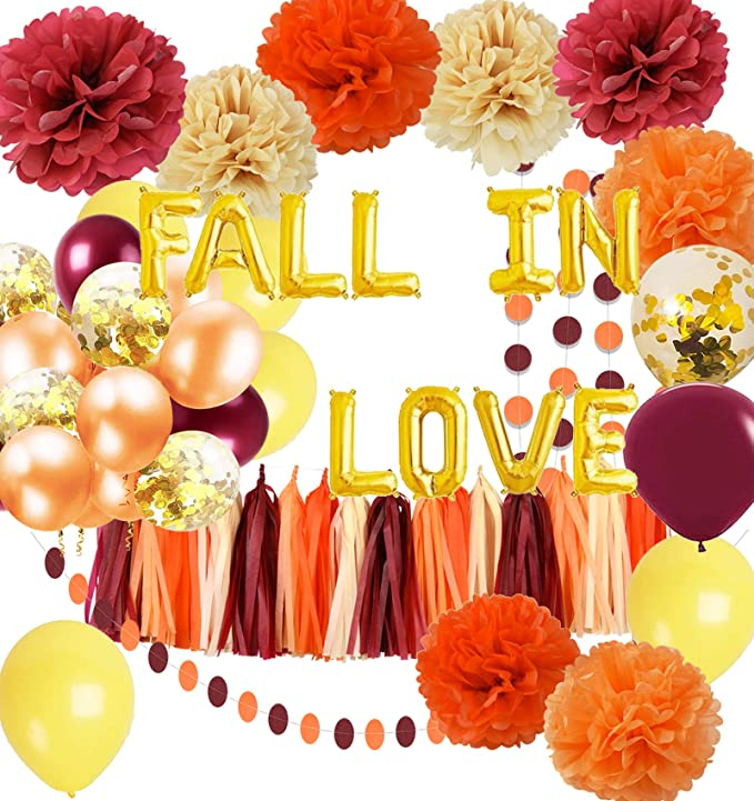 Fall Bridal Shower Decorations Wine Burgundy Champagne Orange/Fall in Love Balloons Burgundy Orange Yellow Balloons Maroon Burgundy Wedding/Fall Themed Wedding Anniversary Decorations