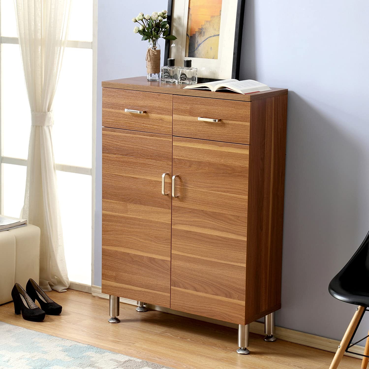 Light Brown Mixcept 32 Modern Shoes Cabinet with Doors Wooden Entryway Shoe Storage Cabinet with 4 Shelves /& 2 Drawers