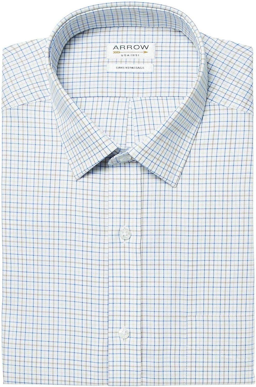 ARROW - Camisa de Manga Corta sin Planchar, diseño de Cuadros pequeños, Color Beige y Azul: Amazon.es: Ropa y accesorios