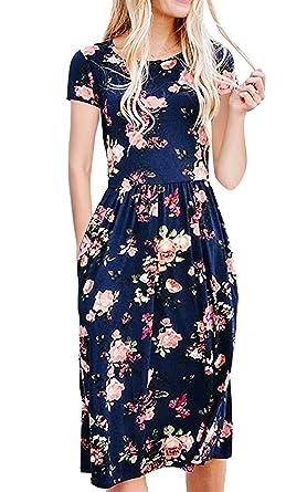 e03caf9408f ECOWISH Womens Dresses Summer Floral Short Sleeve Elastic Waist Vintage  Retro Midi Dress with Pockets Blue