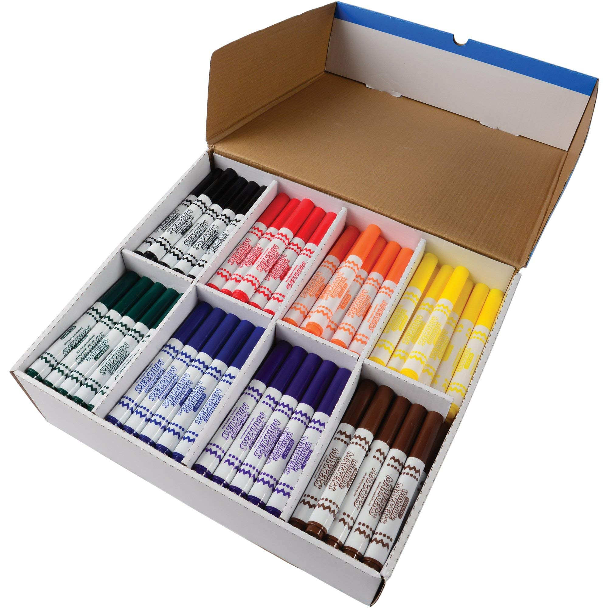 Constructive Playthings BCZ-1235 Jumbo Washable Markers Classroom Pack of 200 Markers in 8 Basic Colors