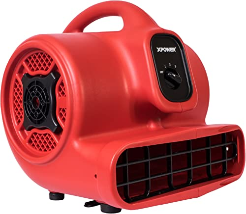 XPOWER P-430 1 3 HP Air Mover, Carpet Dryer, Floor Fan, Utility Blower – Red