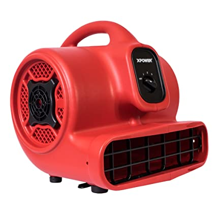 XPOWER P-430 1/3 HP Air Mover, Carpet Dryer, Floor Fan, Utility Blower - Red