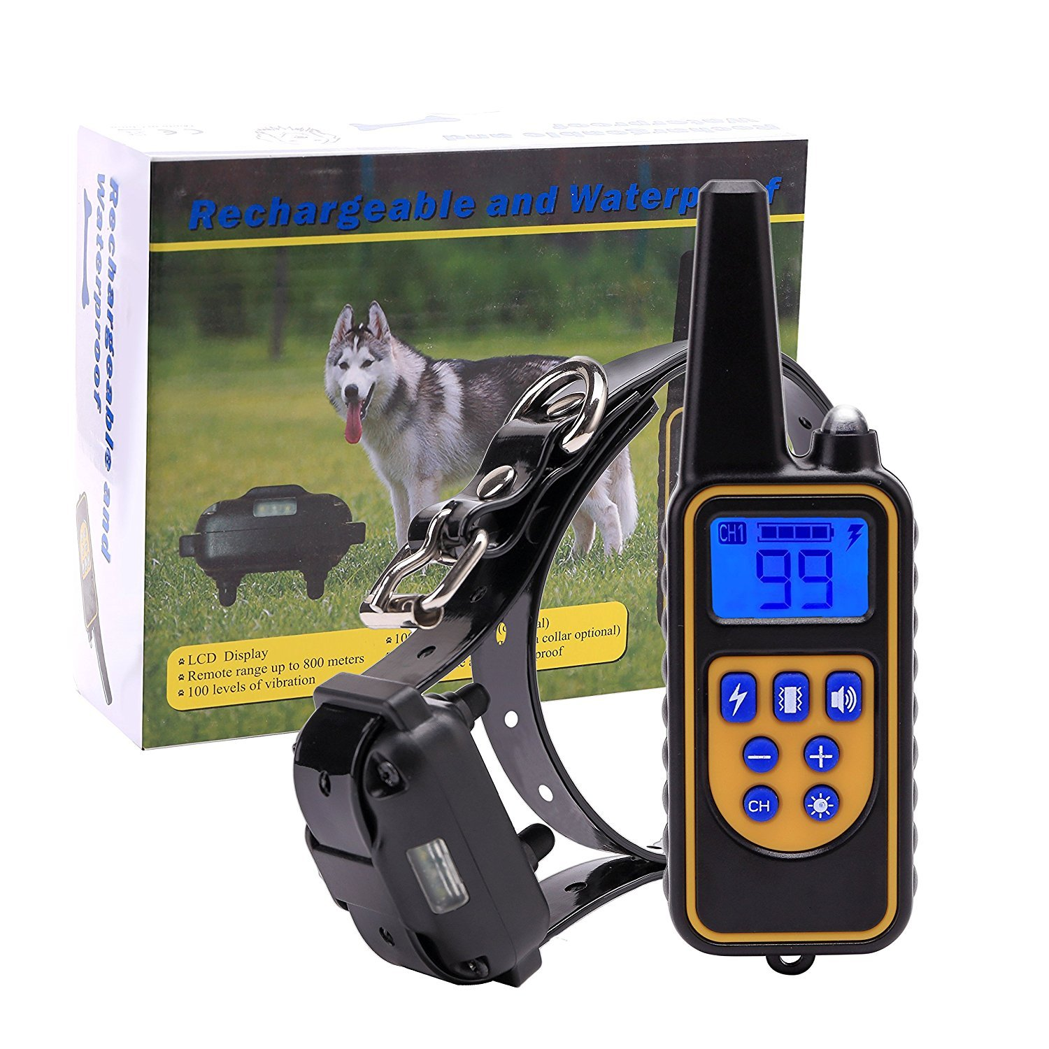 ZVAN Pet Remote Dog Training Collar Chargeable and 100% Waterproof Beeper Collar,300m Remote,Dog Trainer Collar with Vibration and Shock Dogs 2600ft Range for One Dog