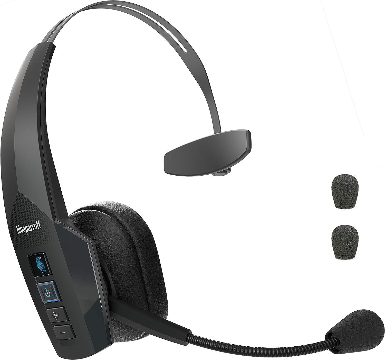 Global Teck Bundle of BlueParrott B350-XT Bluetooth Headset 204260, IP54 Rated - Moisture, Dust Proof, Extra Mic Cushions, Trucker Bluetooth Headset, Diadema Auricular Inalambrio para USO Todo El Dia