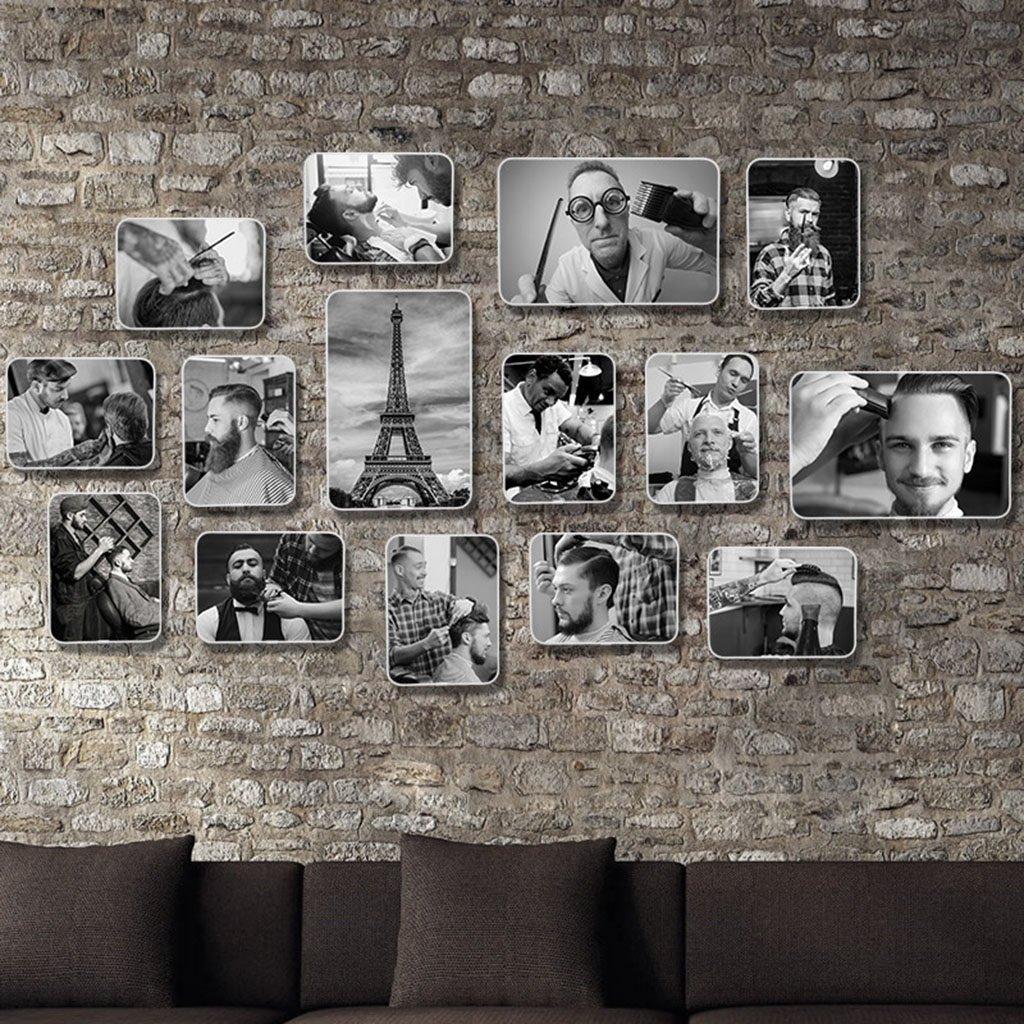 Dekorrahmen Retro friseursalon Stil Bilderrahmen Sets, Wohnzimmer Bilderrahmen Wand Kreative Kombination Sofa Hintergrund Frames Sets Von 15 ( Farbe    20 , größe   15Frames 15080CM )
