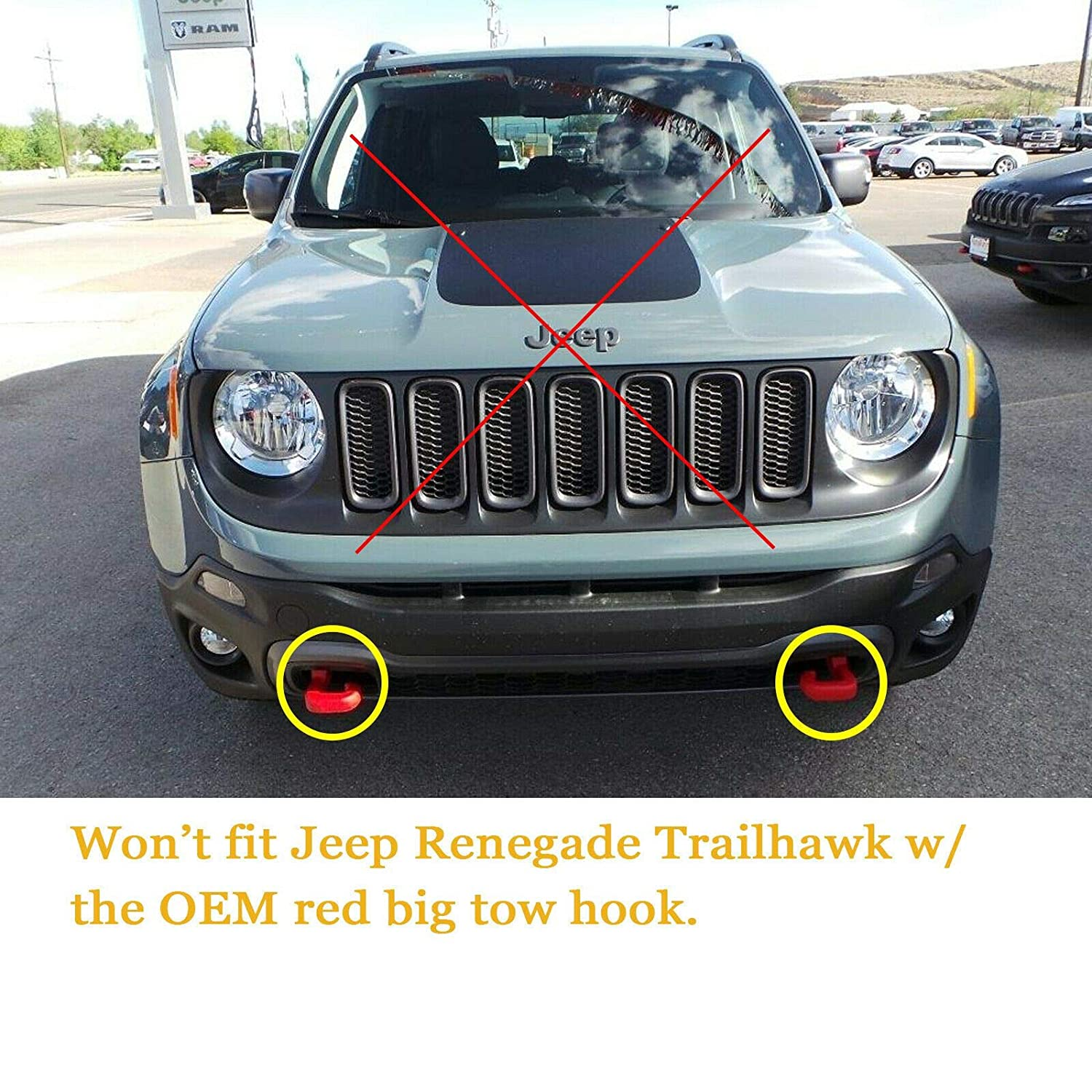 No Drill Xotic Tech Red Front Bumper Tow License Plate Mount Bracket Relocator Kit for Jeep Renegade 2015-up