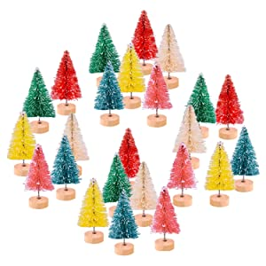 KUUQA 24Pcs Multicolor Mini Sisal Trees Bottle Brush Trees Mini Pine Trees with Wood Base Snow Frosted Trees Winter Snow Ornaments Tabletop Trees for DIY Room Decor Diorama Models (6 Colors)
