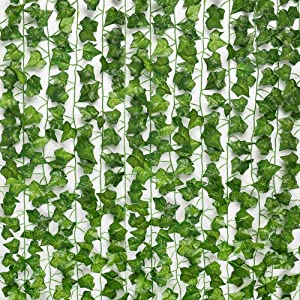 JPSOR 24pcs 158 Feet Fake Ivy Fake Vines Artificial Ivy, Silk Ivy Garland Greenery Artificial Hanging Plant for Wedding Wall Decor, Party Room Decro