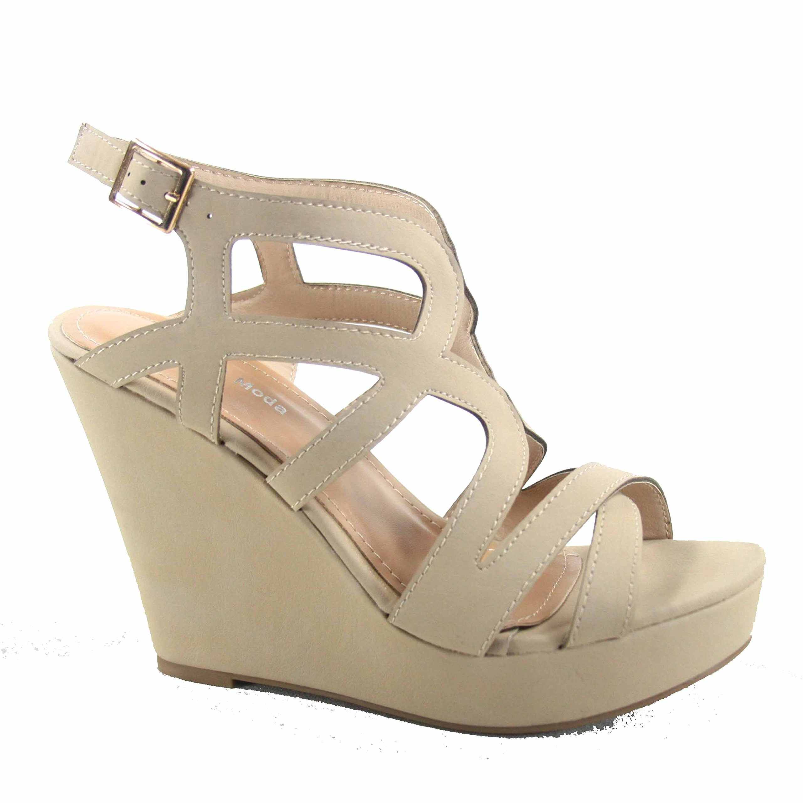 Top Moda Cathy-55 Women's Fashion Strappy Wedge Open Toe Platform Sandal Shoes (10 B(M) US, Beige)