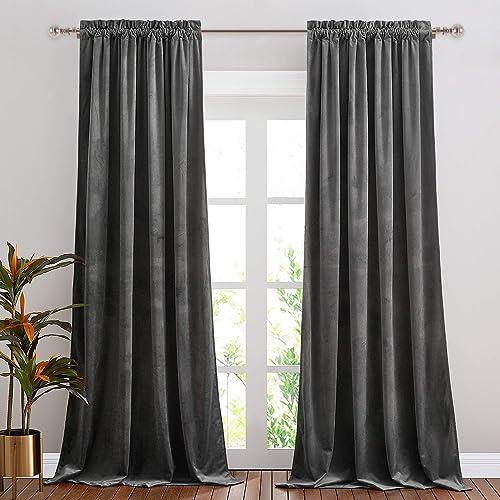 NICETOWN Living Room Grey Velvet Curtains - a good cheap window curtain panel