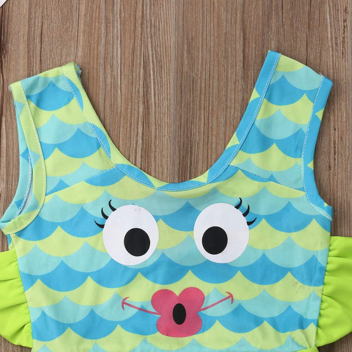 GuliriFei Swimsuit for Kids Toddler Litter Girls Swimwear Ruffle Frog Print one Piece Swimsuit