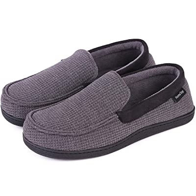 Men's Comfort Memory Foam Moccasin Slippers Breathable Cotton Knit Terry Cloth House Shoes   Slippers