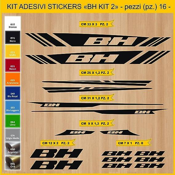 Kit Pegatinas Stickers Bicicleta BH - Kit 2-16 Piezas- Bike Cycle Cod. 0841 (070 Nero): Amazon.es: Deportes y aire libre