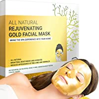 Gold Facial Mask - Premium Hydrogel Sheet Face Masks for Skin Care & Beauty, Hydrating...
