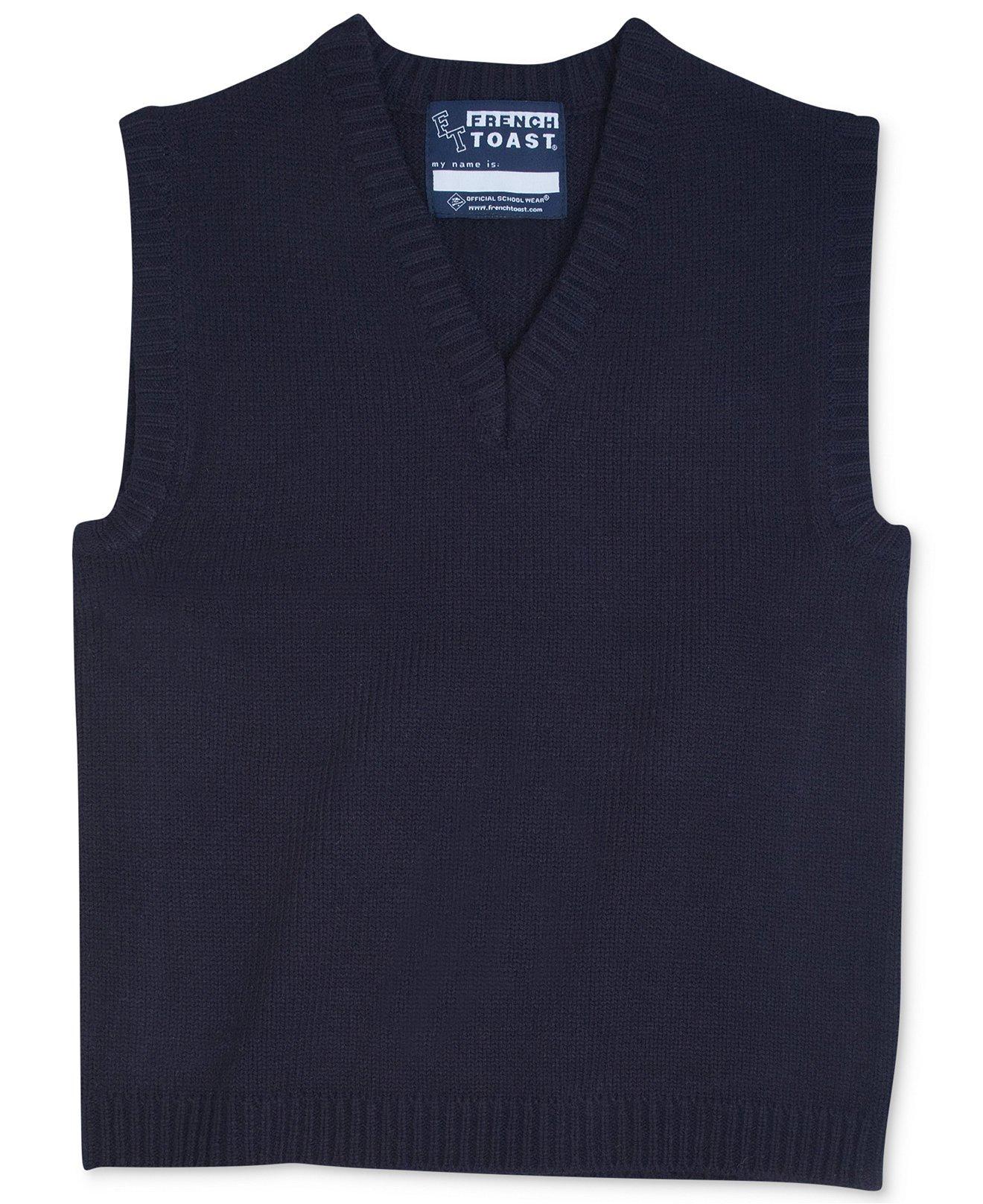 French Toast Big Boys' V-Neck Sweater Vest (Navy - 16)