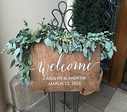 Amazon.com: Wedding Welcome Sign Wood Welcome Wedding Sign ...