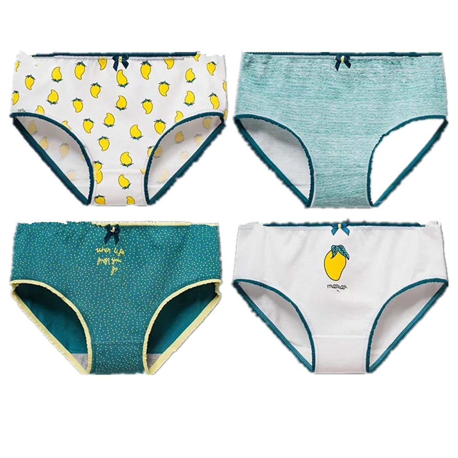 DVANIS 4-Packs Girls Underwear Hipster Knickers Briefs Print Mango Comfort Cotton
