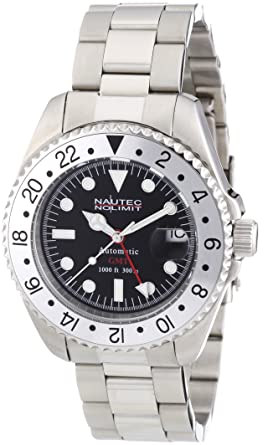 336b36ea1c9 Image Unavailable. Image not available for. Colour: Nautec No Limit Men's  Deep Sea Watch DS AT-GMT/STSTSLBK