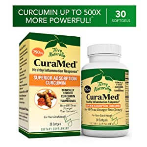 Terry Naturally CuraMed 750 mg - 30 Softgels - Superior Absorption BCM-95 Curcumin Supplement, Promotes Healthy Inflammation Response - Non-GMO, Gluten-Free, Halal - 30 Servings
