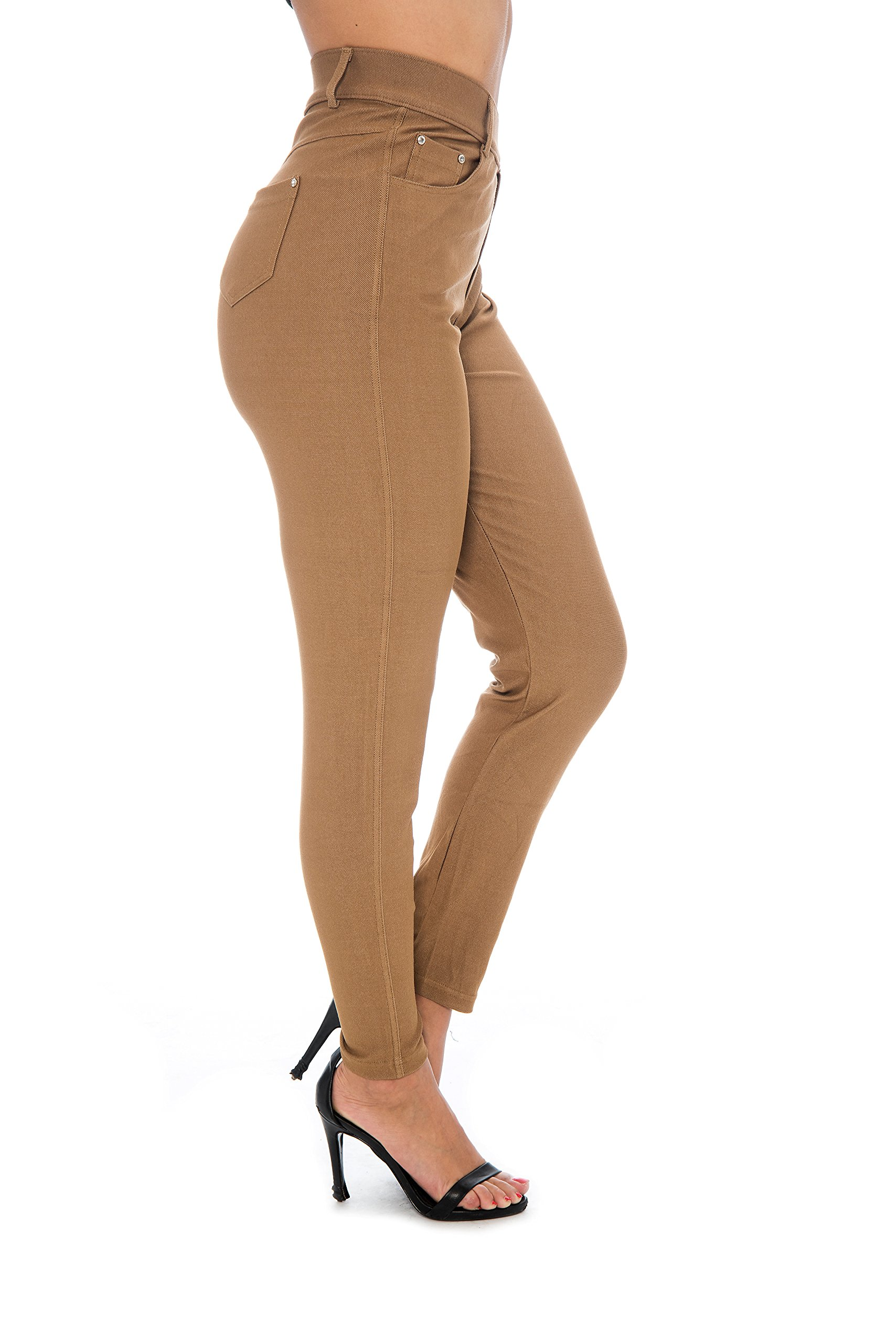Unique Styles Women's Basic Jeggings Leggings Stretchy 5 Pockets Pants Regular Plus Sizes (2X, Khaki)