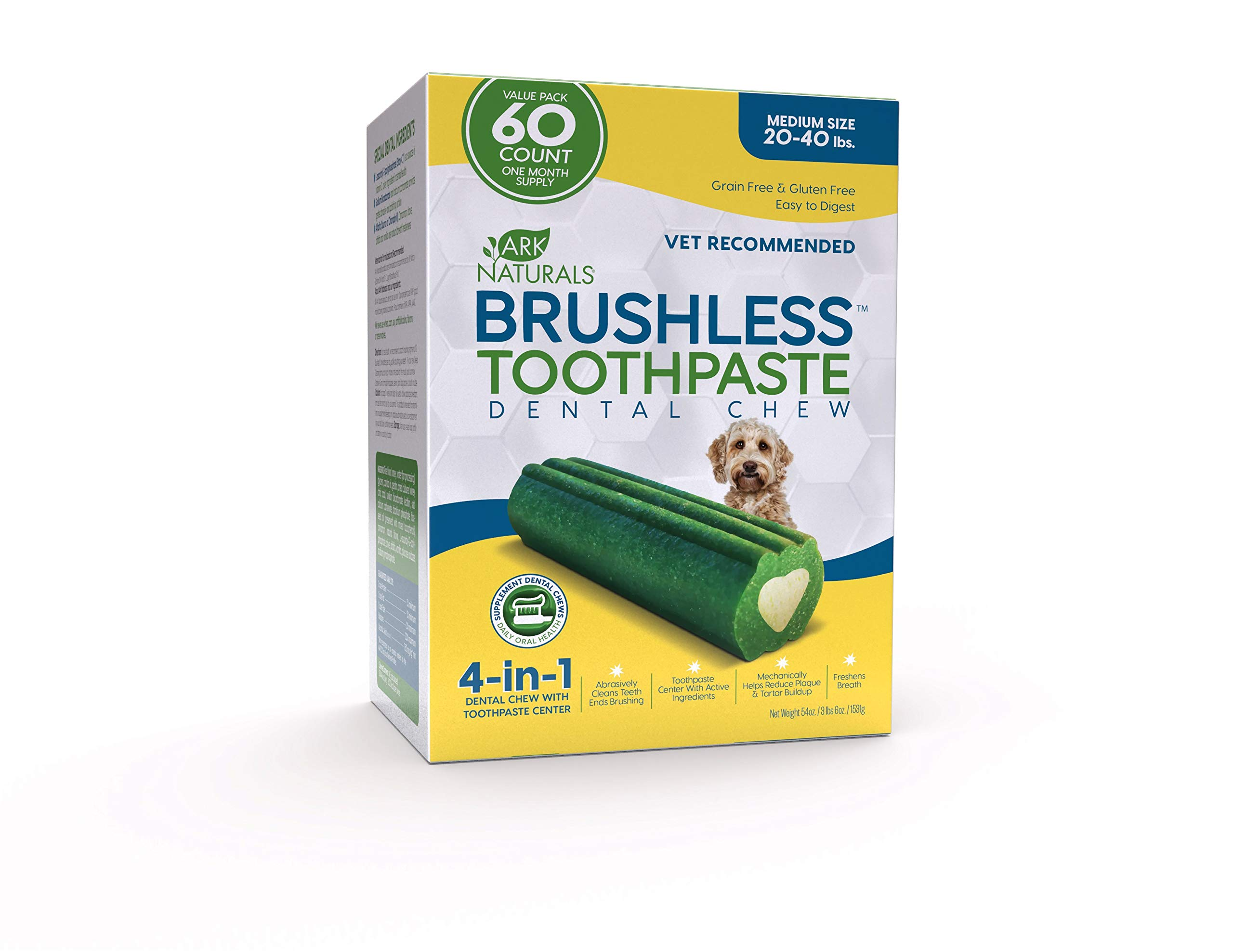 ARK NATURALS Brushless Toothpaste Value Pack, Vet Recommended Dental Chew for Medium Breeds, Plaque, Tartar & Bacteria Control, Freshens Breath, One Month Supply (60Count)