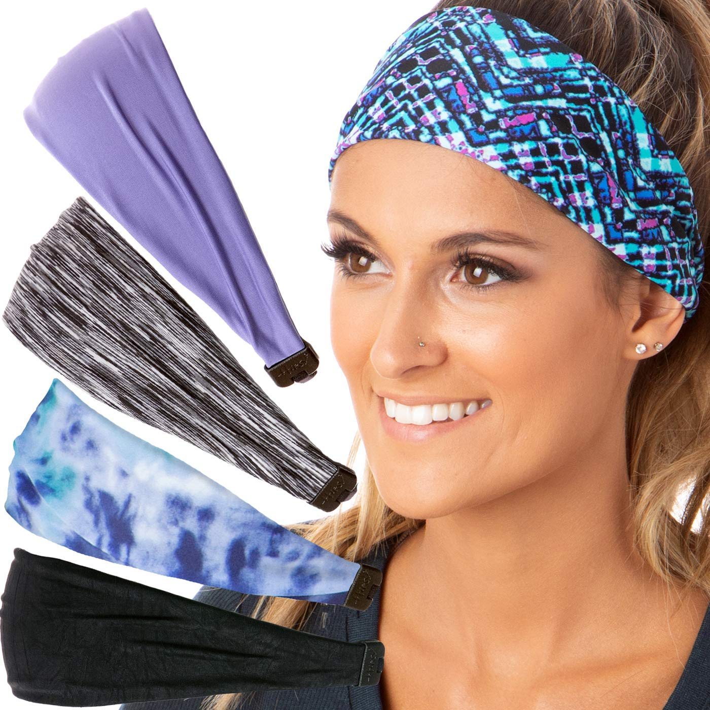 Hipsy Adjustable & Stretchy Xflex Band Wide Sports Headbands for Women Girls & Teens (5pk Black/Mosiac/Violet/Grey/Blue)
