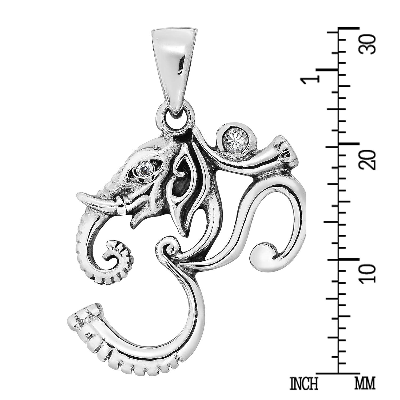 Elephant Head Mystical Om or Aum White Cubic Zirconia .925 Sterling Silver Pendant