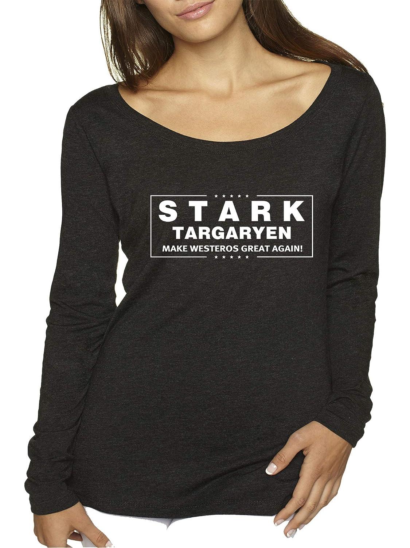 Black Trendy USA 775  Women's Long Sleeve TShirt Stark Targaryen Game of Thrones Election