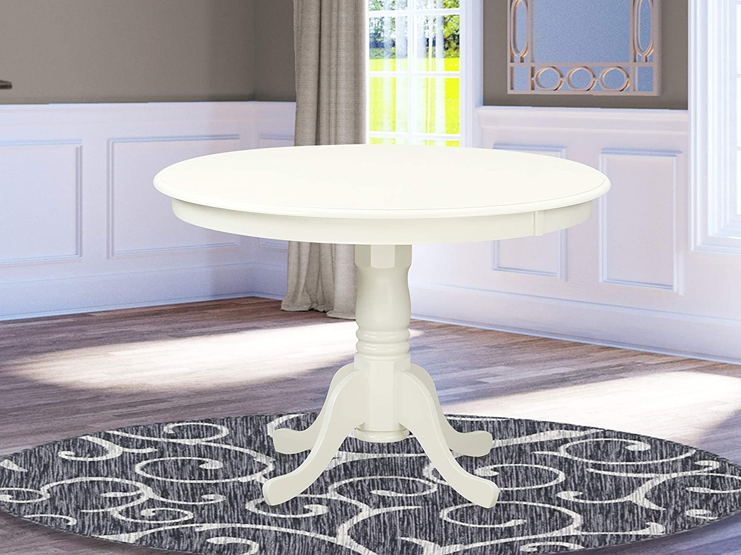 """East West Furniture Hartland Table 42"""" Diameter Round Table Finish, Linen White"""