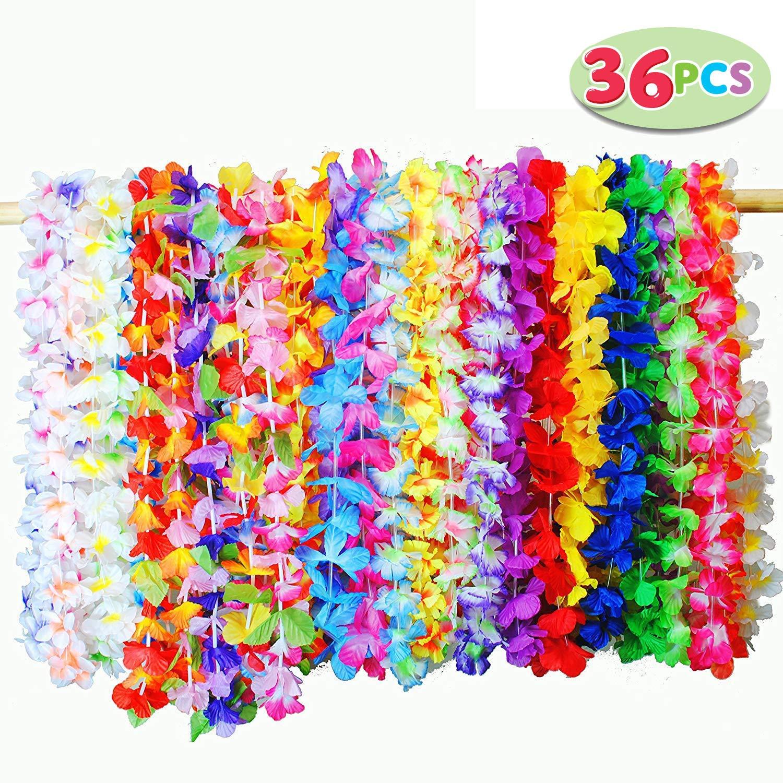 JOYIN 36 Pieces Tropical Hawaiian Luau Flower Lei Party Favors 3 Dozen