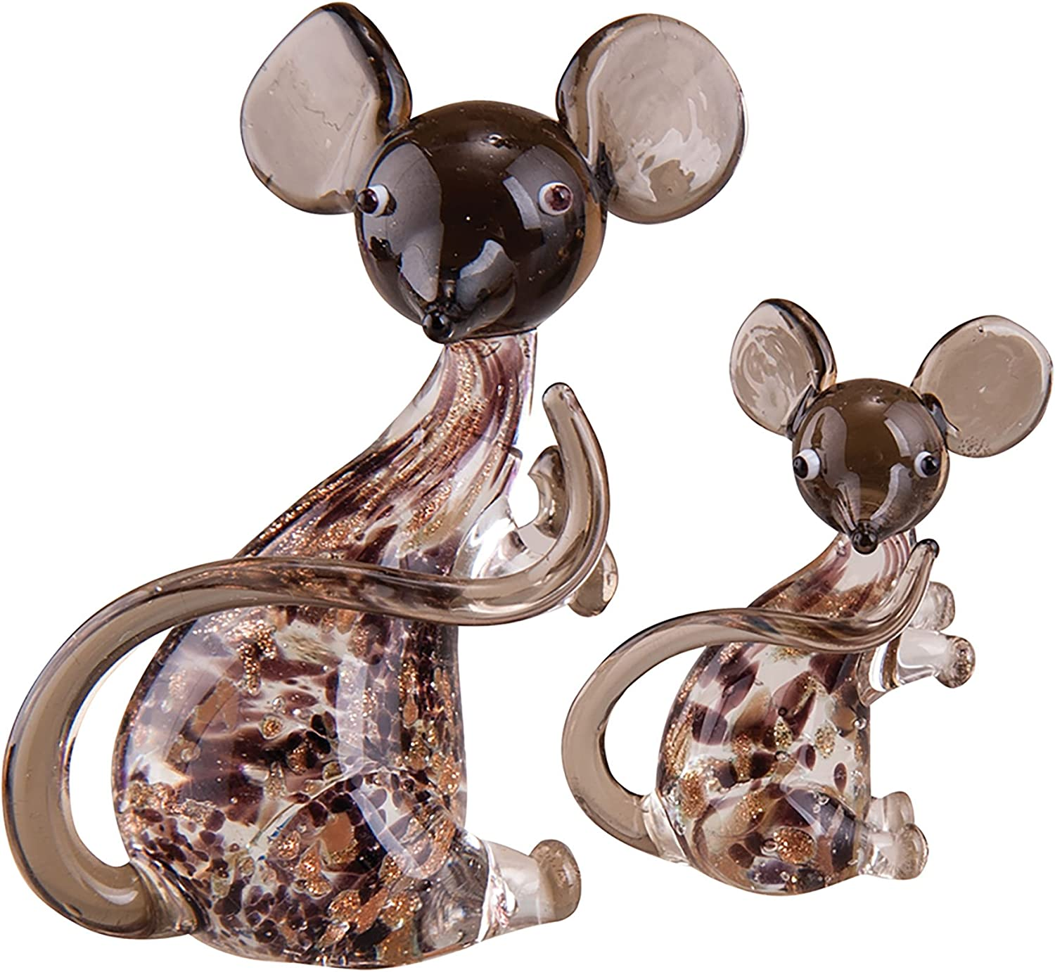 C&F Home Art Glass Mom & Baby Mouse, 1.25-2.25