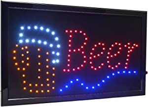 "21.5""x13"" Large High Visible LED Light Business Open Sign with Chain On/Off Button Motion Control (Beer)"