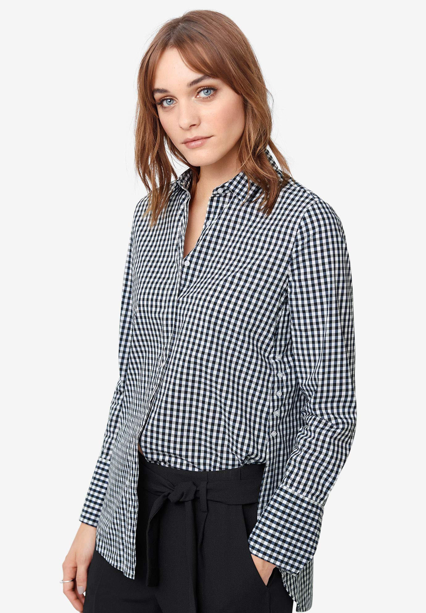 ellos Women's Plus Size Side-Button Shirt