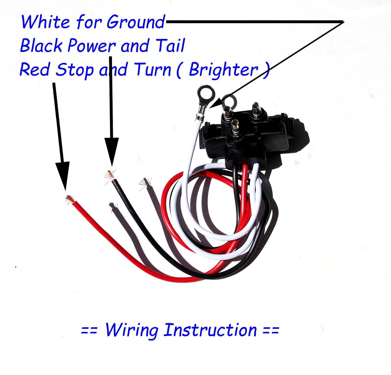 Pair Brand New Red Lens 4 Round Led Stop Turn Tail Ground Wiring Black White Light Includes Grommet Plug Automotive