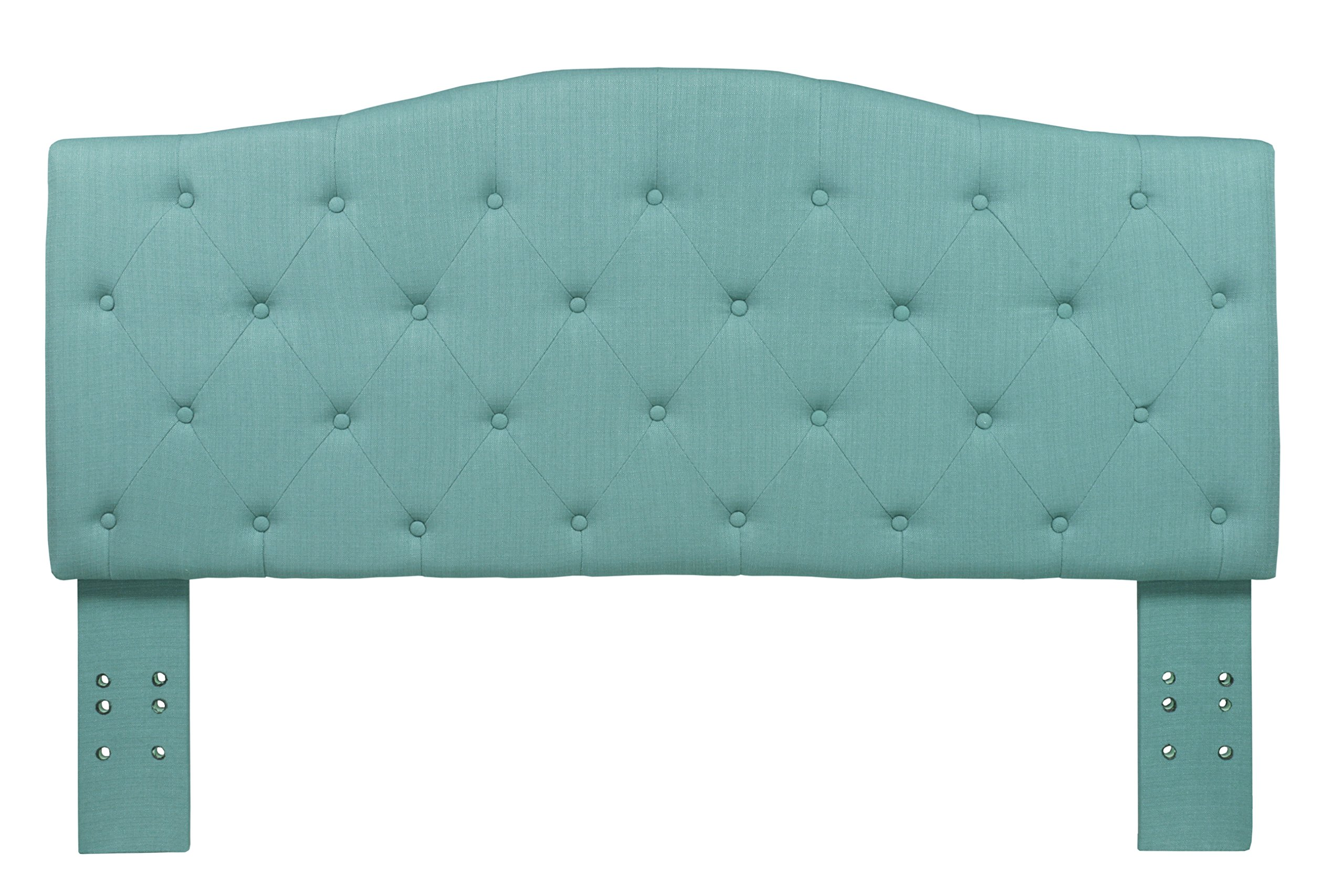 Furniture of America Satin Flax Fabric Button Tufted Headboard, Twin, Blue