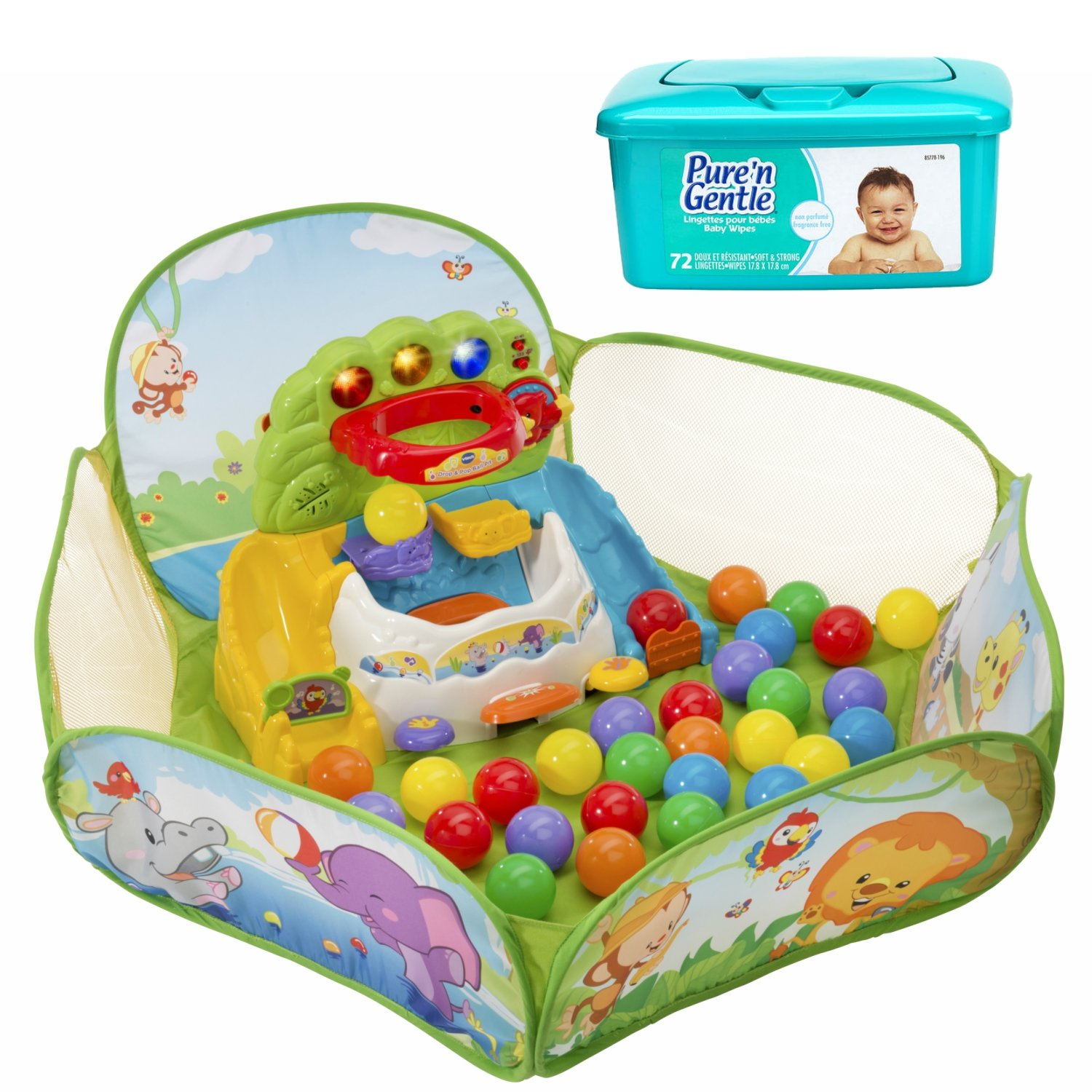 NEW! VTech Lights and Sounds Pop-a-Balls, Drop & Pop Ball Pit Baby Activity Center with Hypoallergenic Baby Wipes