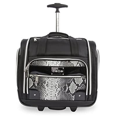 80%OFF BEBE Women's Tiana-Wheeled Under the Seat Carry on Bag, Black Snake