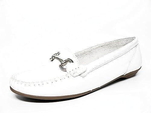 Zapato mujer casual mocasin marca DELTELL en piel color blanco ...
