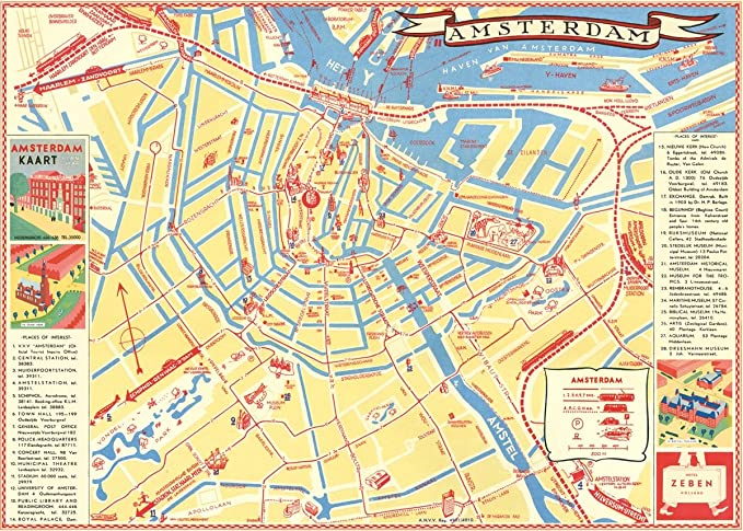 Amazon Com Cavallini Co Amsterdam Map Poster Wrapping Paper Sheet